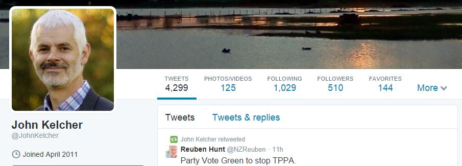 Connecting on social media: Green candidate John Kelcher's Twitter page.